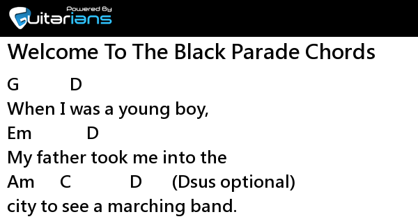 My Chemical Romance Welcome To The Black Parade Chords