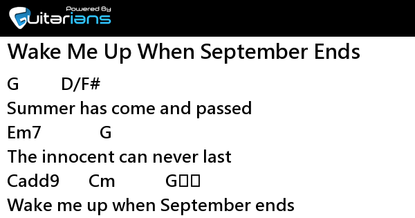 Green Day - Wake Me Up When September Ends 結他譜 / Chord譜 ...
