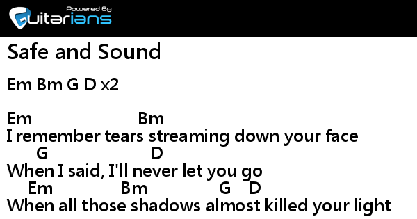 taylor swift - Safe and Sound 結他譜 / Chord譜| 曲 : Yoshida Yuuki ...