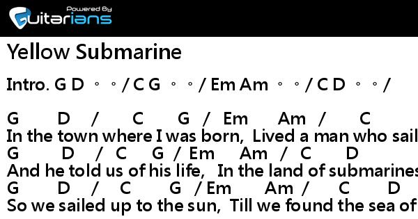 Beatles - Yellow Submarine 結他譜 / Chord譜 | Guitarians.com