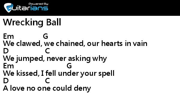 Miley Cyrus - Wrecking Ball 結他譜 / Chord譜| 曲 : Yoshida Yuuki ...