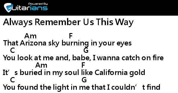always remember us this way easy piano pdf
